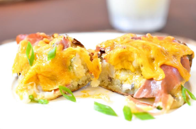 mushroom and prosciutto twice baked potatoes