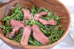 steak and arugula
