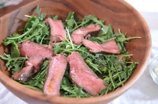 steak and arugula