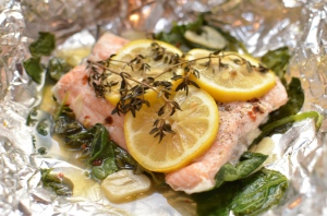 salmon in foil- finished in foil