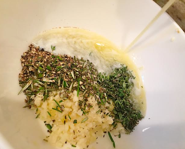 herbs with melting butter