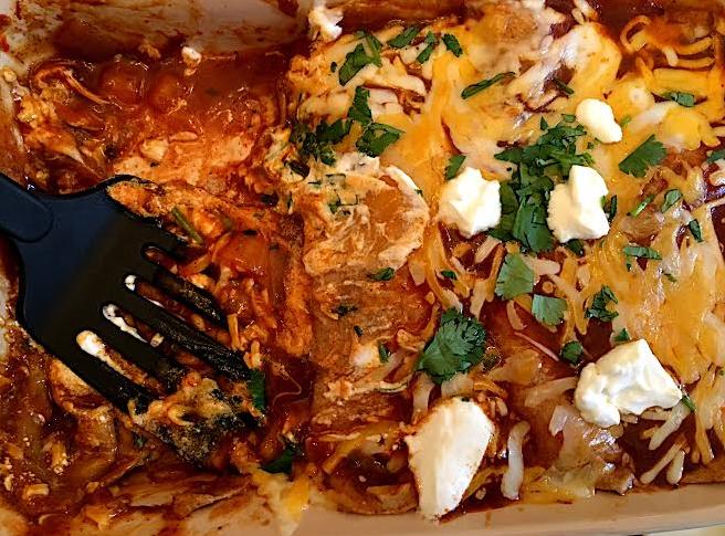 chicken enchiladas- pan half eaten