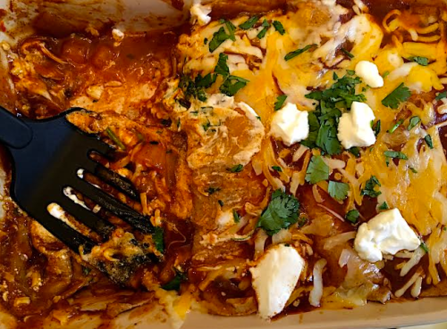 chicken enchiladas- pan half eaten