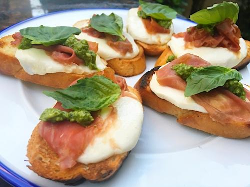 pesto crostini- all on plate