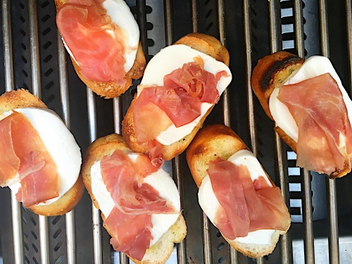 pesto crostini- on the grill